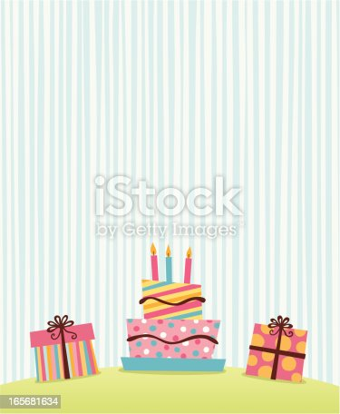Simple retro graphic of presents and birthday cake