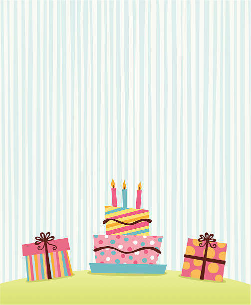 Simple retro graphic of presents and birthday cake vector art illustration