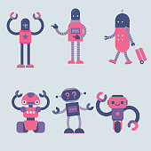A set of six modern and simple robot characters in different posture.