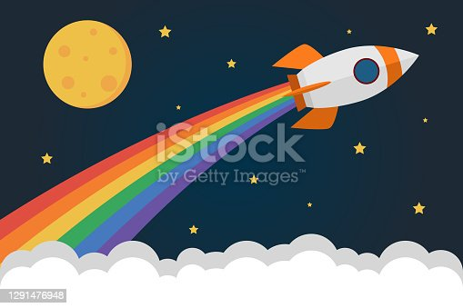 istock Simple rocket in space above clouds and emits smoke in rainbow colors 1291476948
