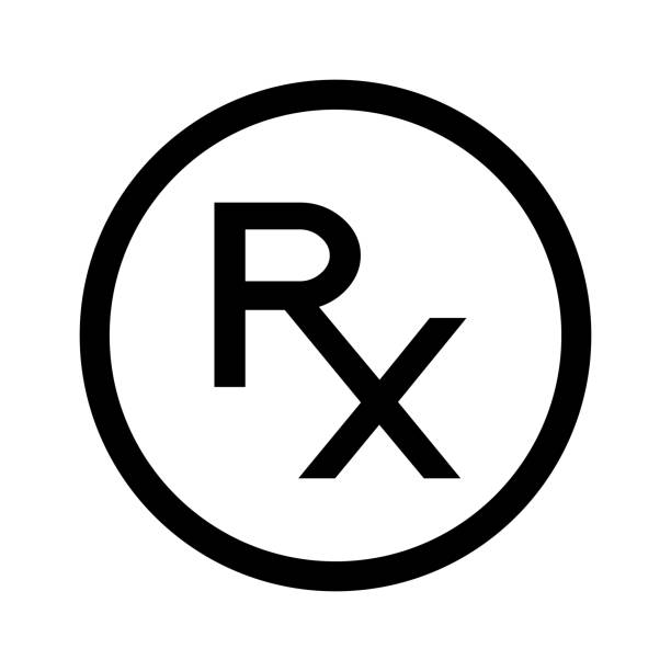Simple Rx con. Rx sign as a symbol of prescription. Line icon, black and white. Rx in circle. Black symbol in a circle on white background rx stock illustrations