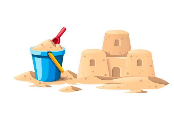 illustrations, cliparts, dessins animés et icônes de château de sable simple avec le seau bleu et la pelle rouge. conception de dessin animé. illustration plate de vecteur d'isolement sur le fond blanc - chateau de sable