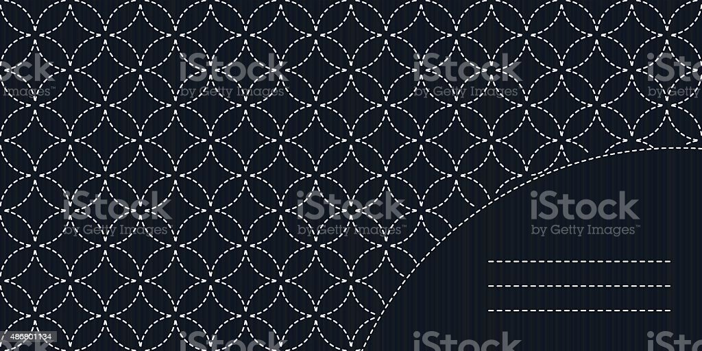 Simple sashiko ornament with copy space for text. vector art illustration