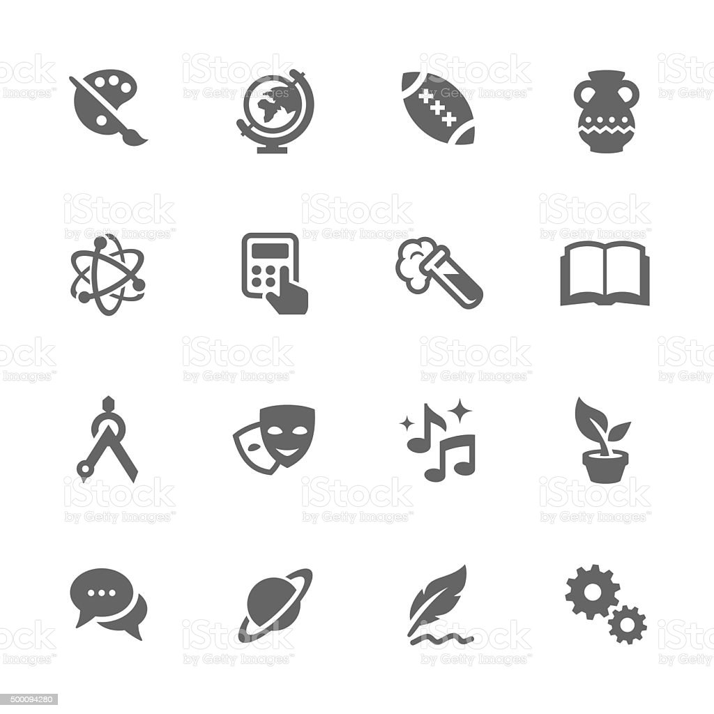 Simple School Subject Icons. vector art illustration