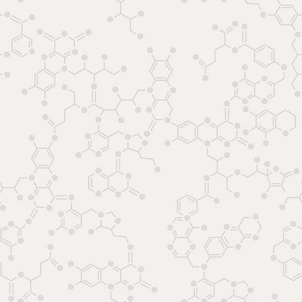 Simple science seamless background Seamless simple science gray background. Schematic molecules bond together. molecular structure stock illustrations
