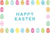 EPS 10 Vector illustration of a screen printed collection of colourful decorated eggs and 'Happy Easter' message.