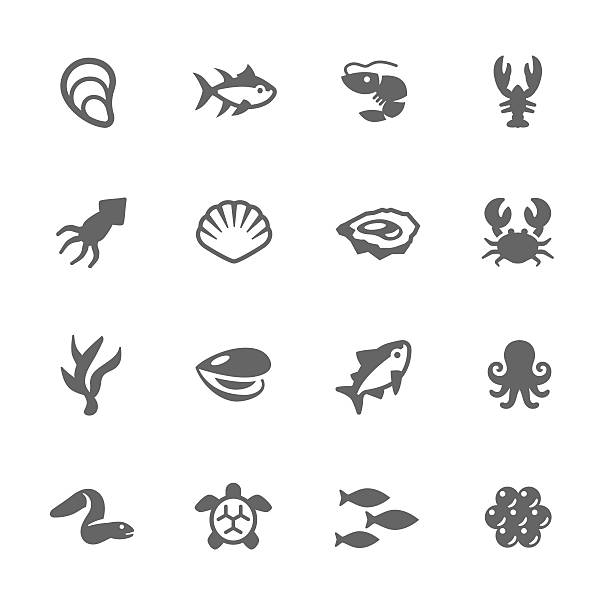 Simple Sea Food Icons Simple Set of Sea Food Related Vector Icons. Contains Such Icons as Oyster, Crab, Sea Shell and more. seafood stock illustrations