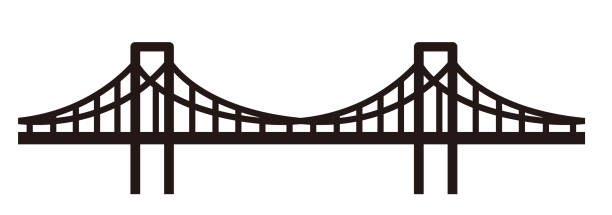 simple seamless bridge illustration - bridge stock illustrations