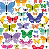 Vector Illustration of a Simple Seamless Butterflies Background