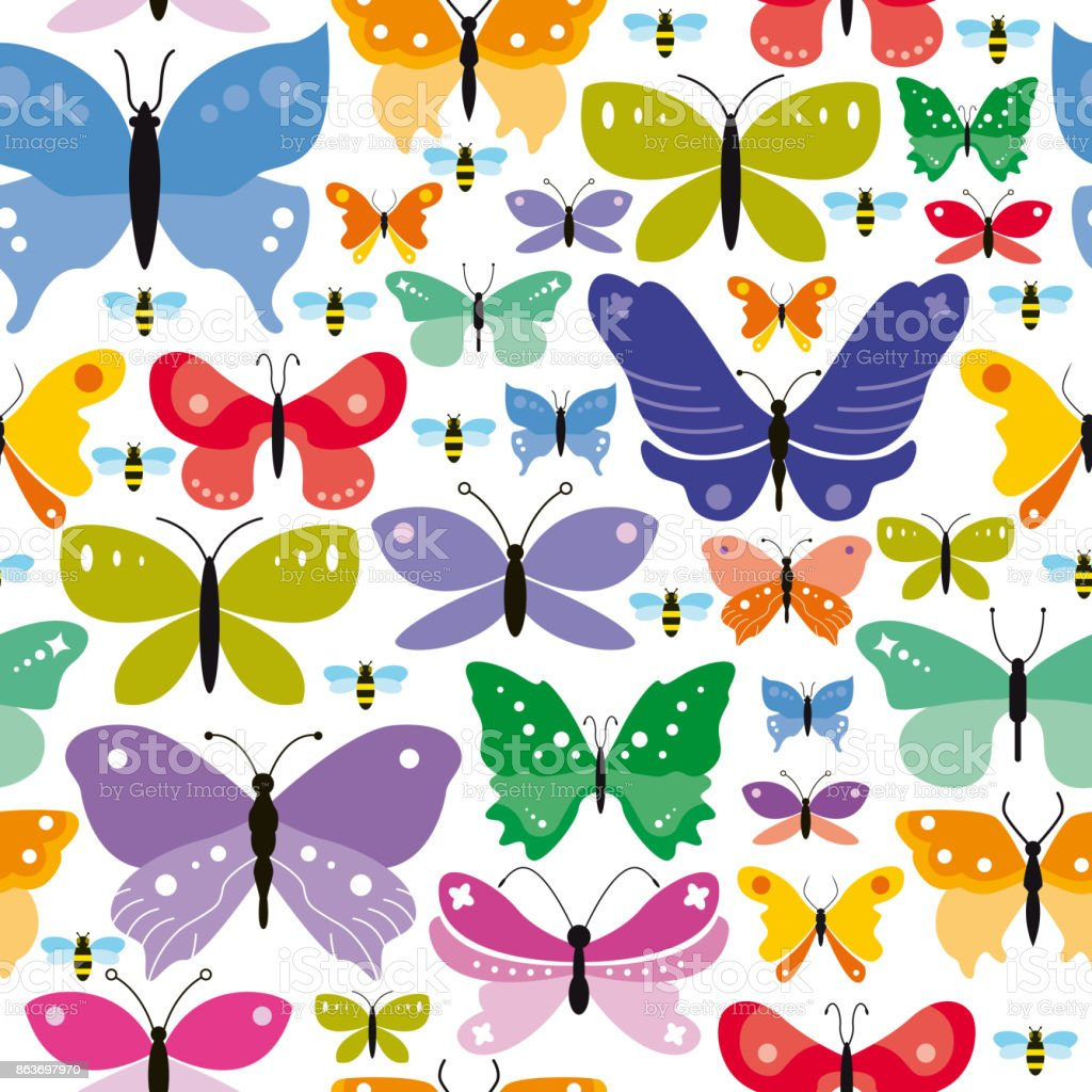 Simple Seamless Butterflies Background vector art illustration
