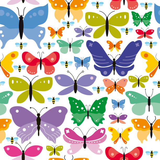 simple seamless butterflies background - butterfly stock illustrations