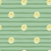 Simple seamless doodle pattern with light yellow pearls. Bubbles silhouettes on green stripped background. Decorative backdrop for wallpaper, textile, wrapping paper, fabric print. Vector illustration