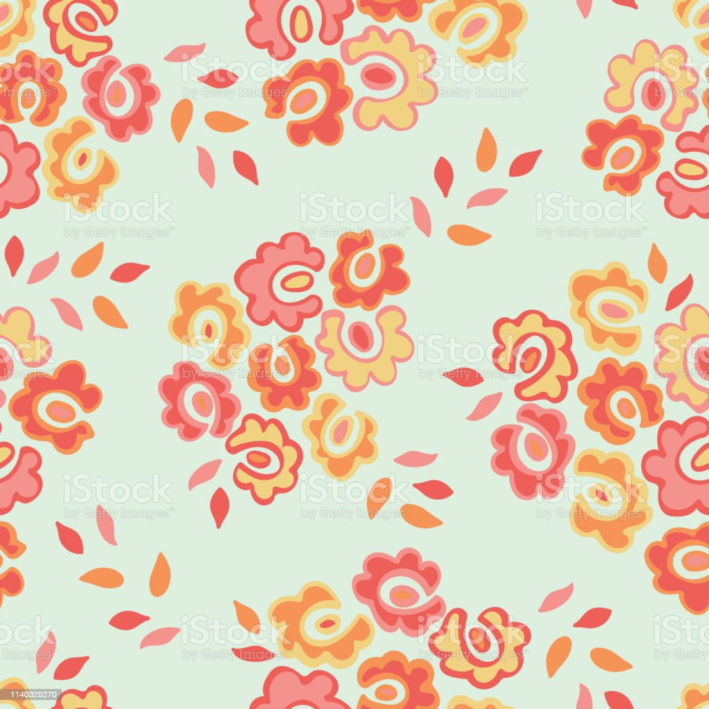 Simple Seamless Pattern With Cute Doodle Flowers Abstract Floral
