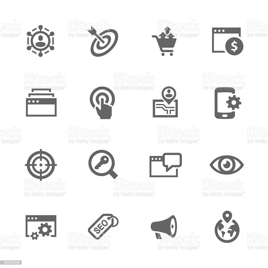 Simple SEO Icons vector art illustration