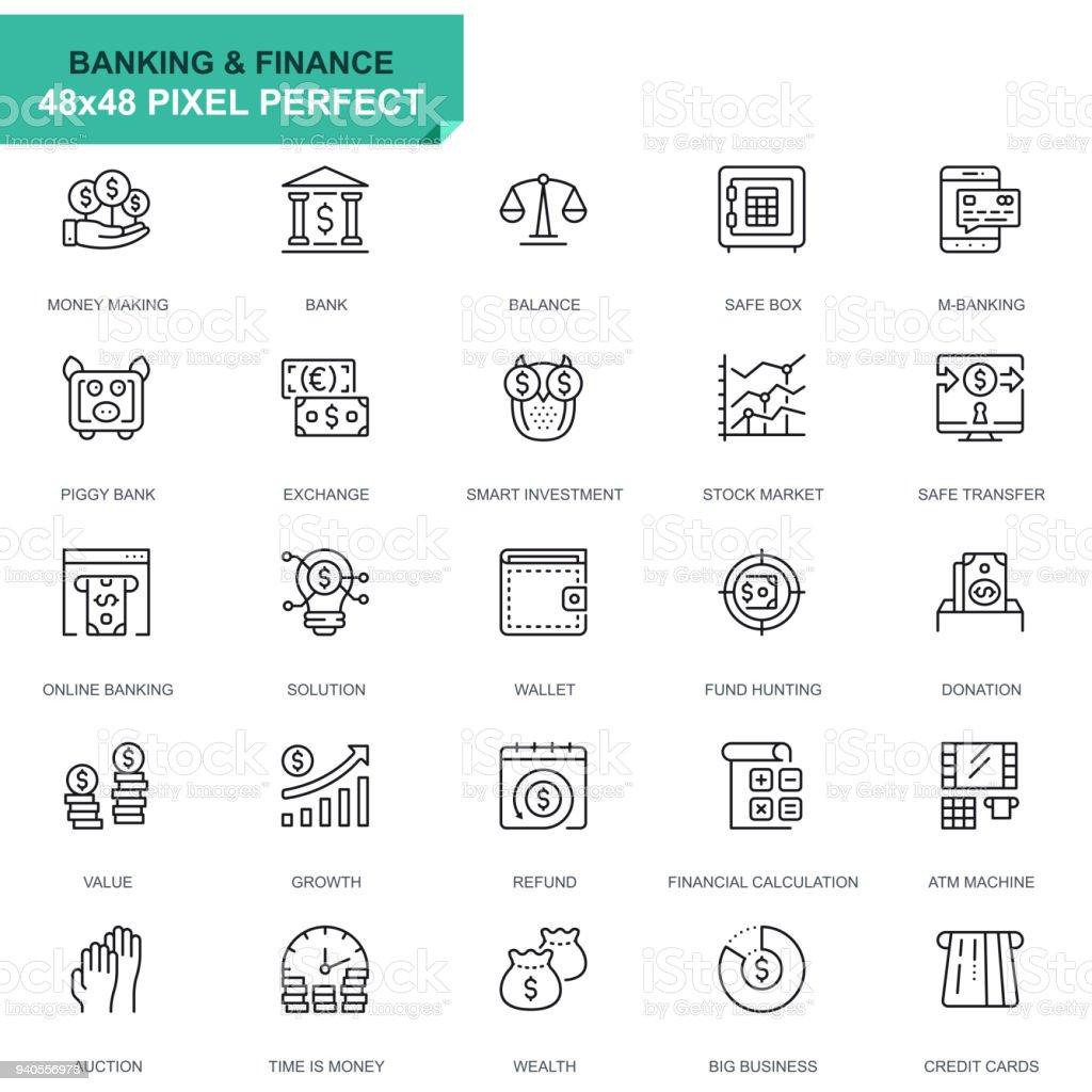 Simple sistema bancario y financiero los iconos de línea - ilustración de arte vectorial