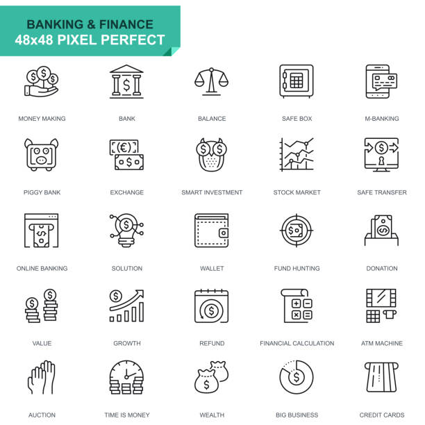 Simple Set Banking and Finance Line Icons Simple Set Banking and Finance Line Icons for Website and Mobile Apps. Contains such Icons as Balance, E-Banking, Auction, Financial Growth. 48x48. Editable Stroke. Vector illustration. bundle stock illustrations