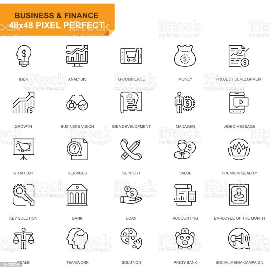 Simple Set Business and Finance Line Icons vector art illustration