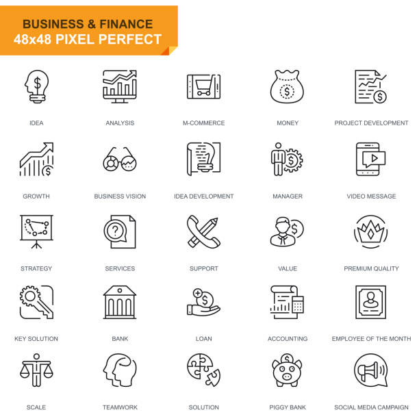 Simple Set Business and Finance Line Icons Simple Set Business and Finance Line Icons for Website and Mobile Apps. Contains such Icons as Analysis, Money, Accounting, Strategy, Bank. 48x48. Editable Stroke. Vector illustration. accountancy stock illustrations