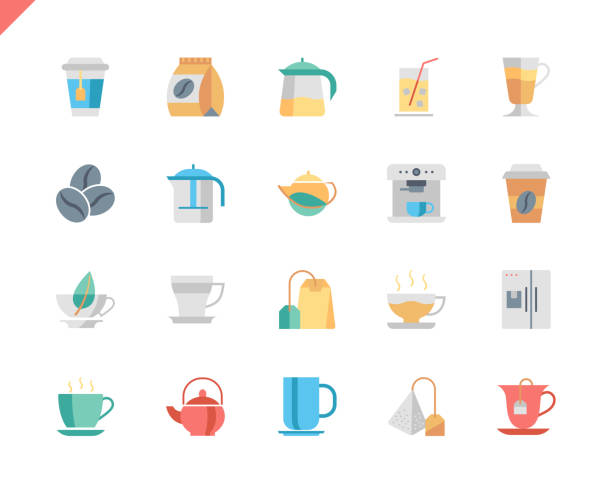 simple set coffee and tea flat icons for website and mobile apps. - empty vending machine stock illustrations