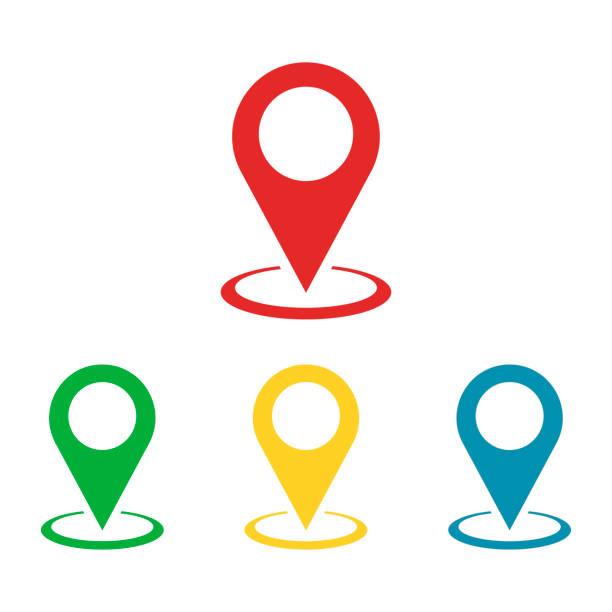 ilustrações de stock, clip art, desenhos animados e ícones de simple set colored pointers or pin marker of location isolated flat. - posição