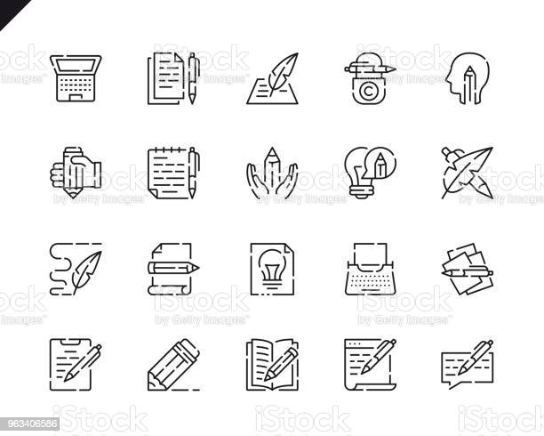 Proste Ikony Linii Copywritingu Dla Witryny I Aplikacji Mobilnych - Stockowe grafiki wektorowe i więcej obrazów Ikona