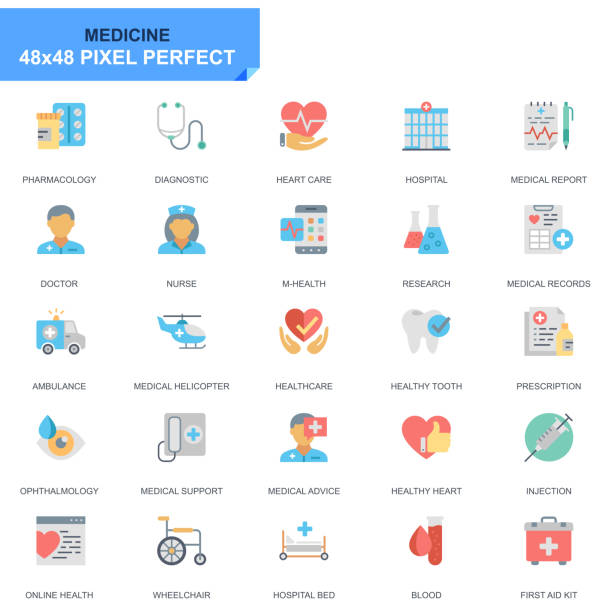 ilustrações de stock, clip art, desenhos animados e ícones de simple set healthcare and medical flat icons - diálise