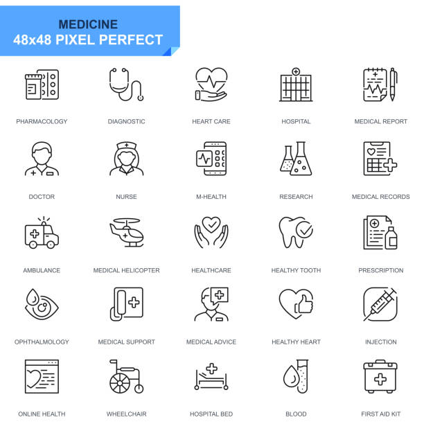 Simple Set Healthcare and Medical Line Icons Simple Set Healthcare and Medical Line Icons for Website and Mobile Apps. Contains such Icons as Ambulance, First Aid, Research, Hospital. 48x48. Editable Stroke. Vector illustration. conceptual symbol stock illustrations