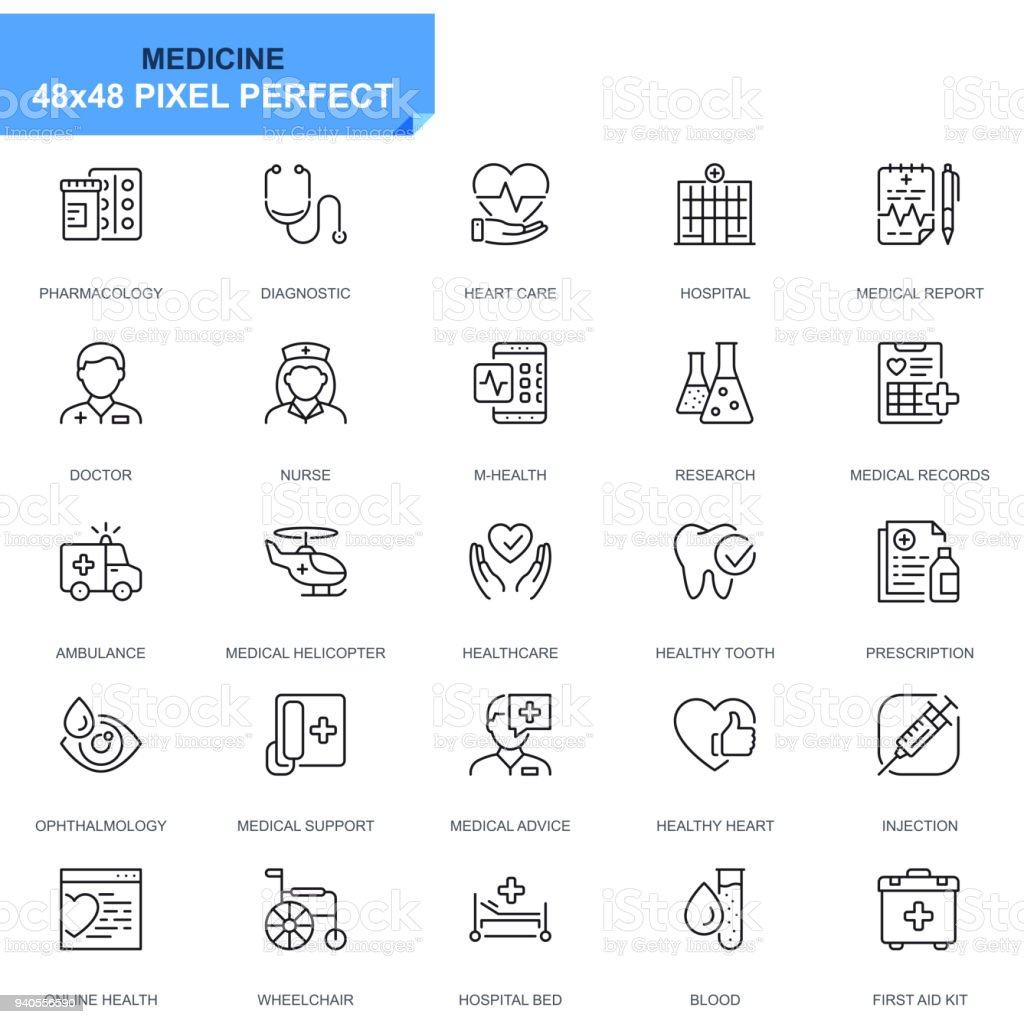 Ícones simples linha conjunto de médicos e de saúde - ilustração de arte em vetor