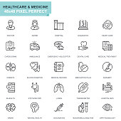 Simple Set Healthcare and Medicine Line Icons for Website and Mobile Apps. Contains such Icons as Doctor, Hospital, Medical Equipment. 48x48. Editable Stroke. Vector illustration.