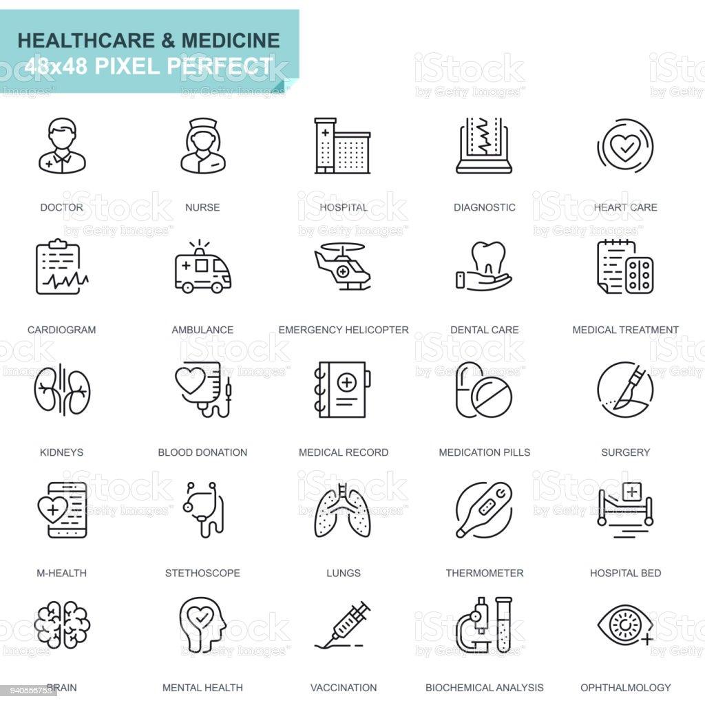 Einfache Set Gesundheitswesen und Medizin Linie Symbole – Vektorgrafik