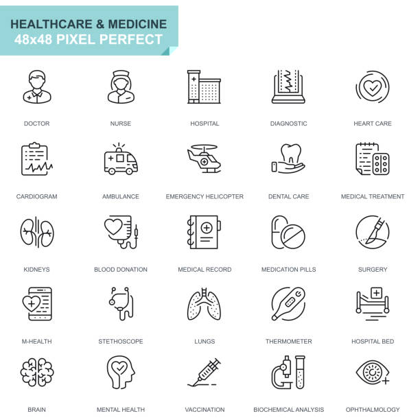 Simple Set Healthcare and Medicine Line Icons vector art illustration
