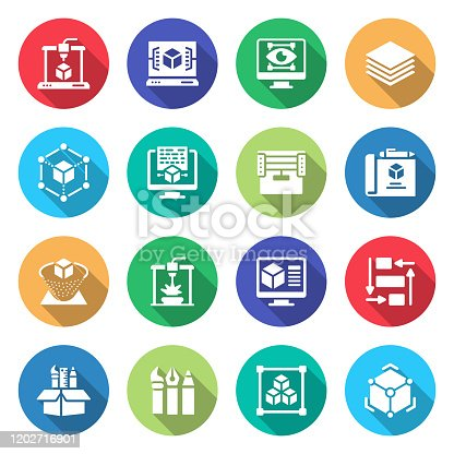 Simple Set of 3D Printing Technology Related Vector Flat Icons. Symbol Collection