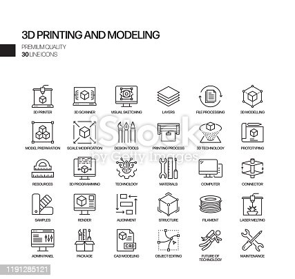 Simple Set of 3D Printing Technology Related Vector Line Icons. Outline Symbol Collection