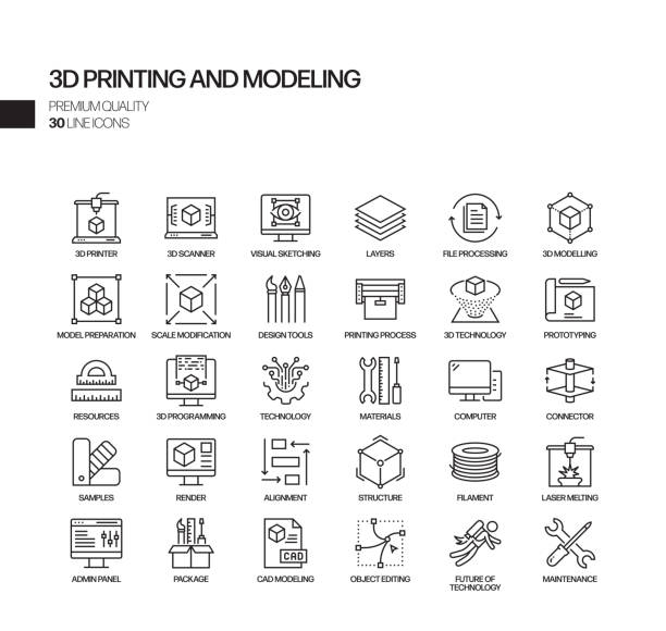 Simple Set of 3D Printing Technology Related Vector Line Icons. Outline Symbol Collection Simple Set of 3D Printing Technology Related Vector Line Icons. Outline Symbol Collection digital composite stock illustrations