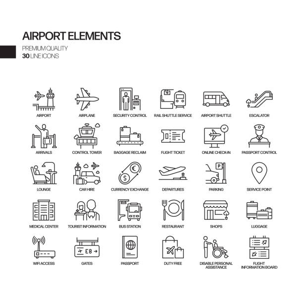 Simple Set of Airport Elements Related Vector Line Icons. Outline Symbol Collection. Simple Set of Airport Elements Related Vector Line Icons. Outline Symbol Collection. airport icons stock illustrations