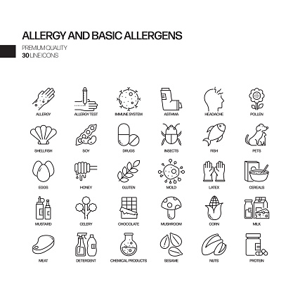 Simple Set of Allergy and Basic Allergens Related Vector Line Icons. Outline Symbol Collection