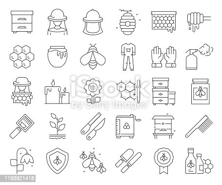 Simple Set of Apiary Related Vector Line Icons. Outline Symbol Collection. Editable Stroke