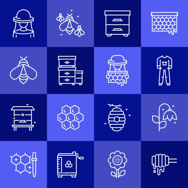 einfache satz von imkerei verwandte vektor linie icons. gliederungssymbolsammlung. - bienenwachs stock-grafiken, -clipart, -cartoons und -symbole