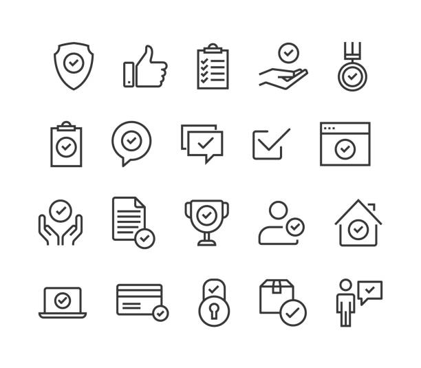 simple set of approve related vector line icons. contains such icons as inspector, stamp, check list and more. editable stroke. 48x48 pixel perfect. - trust stock illustrations