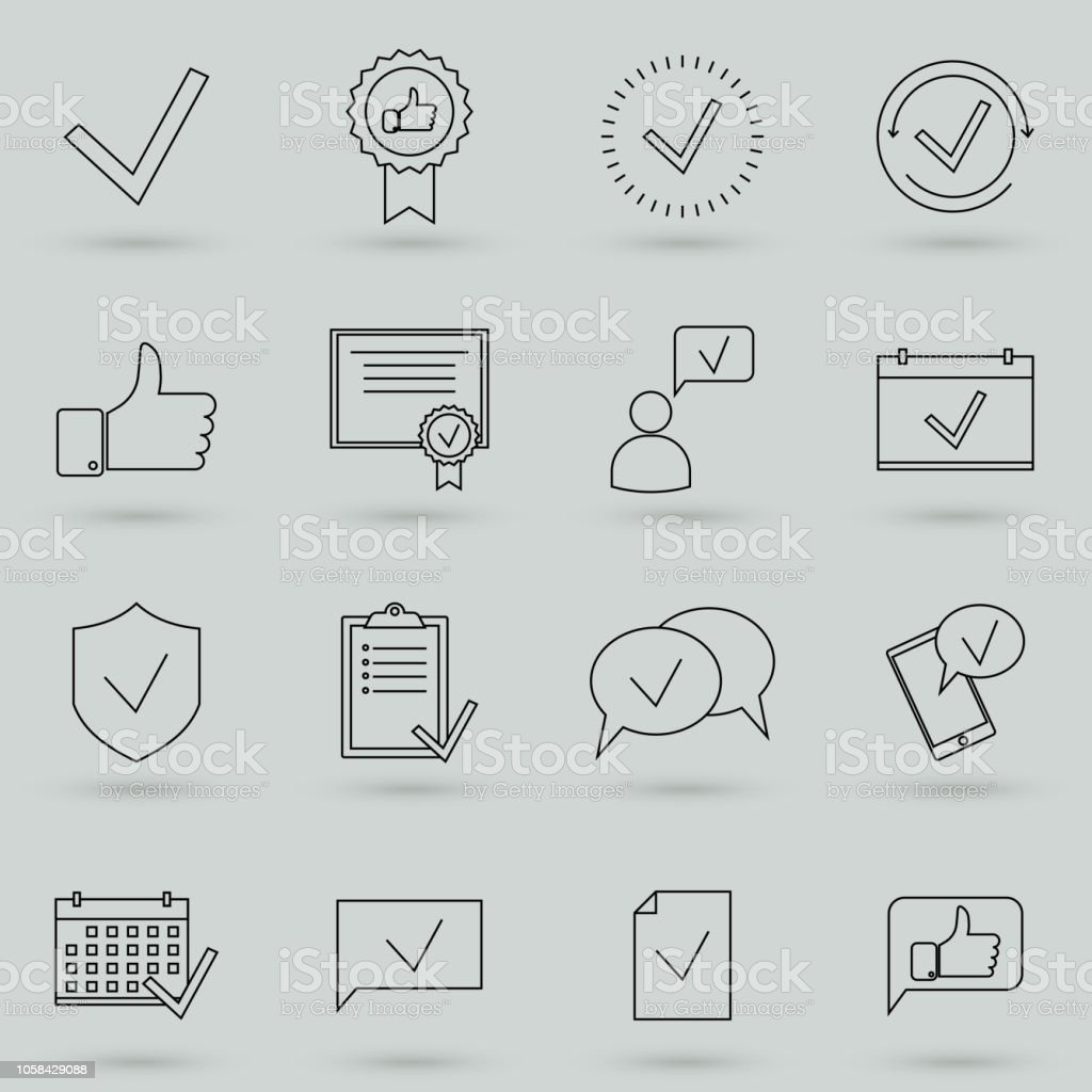 simple set of approve related vector line icons contains such icons