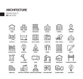 Simple Set of Architecture Related Vector Line Icons. Outline Symbol Collection.