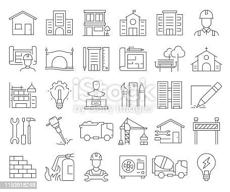 Simple Set of Architecture Related Vector Line Icons. Outline Symbol Collection. Editable Stroke