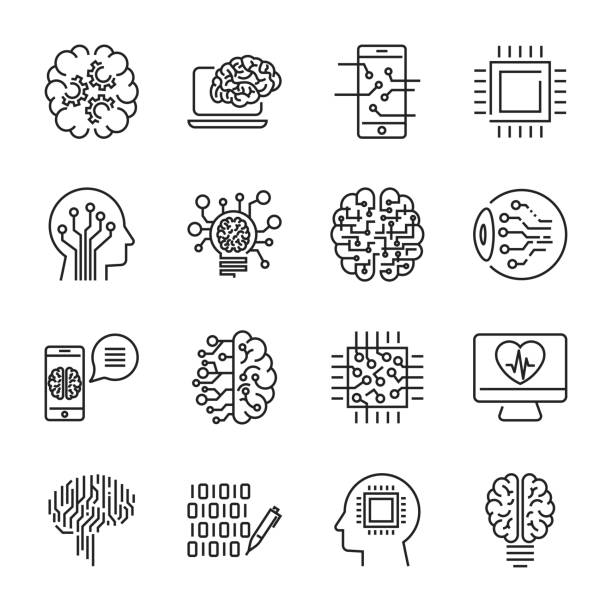Simple set of artificial intelligence related line icons contains such icons as droid, eye, chip, brain. Editable Stroke vector art illustration