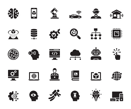 Simple Set of Artificial Intelligence Related Vector Icons. Symbol Collection.