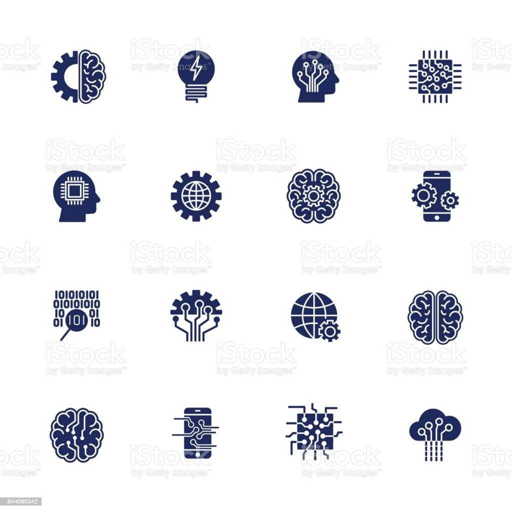 Simple Set of Artificial Intelligence Related Vector Line Icons. EPS 10 vector art illustration