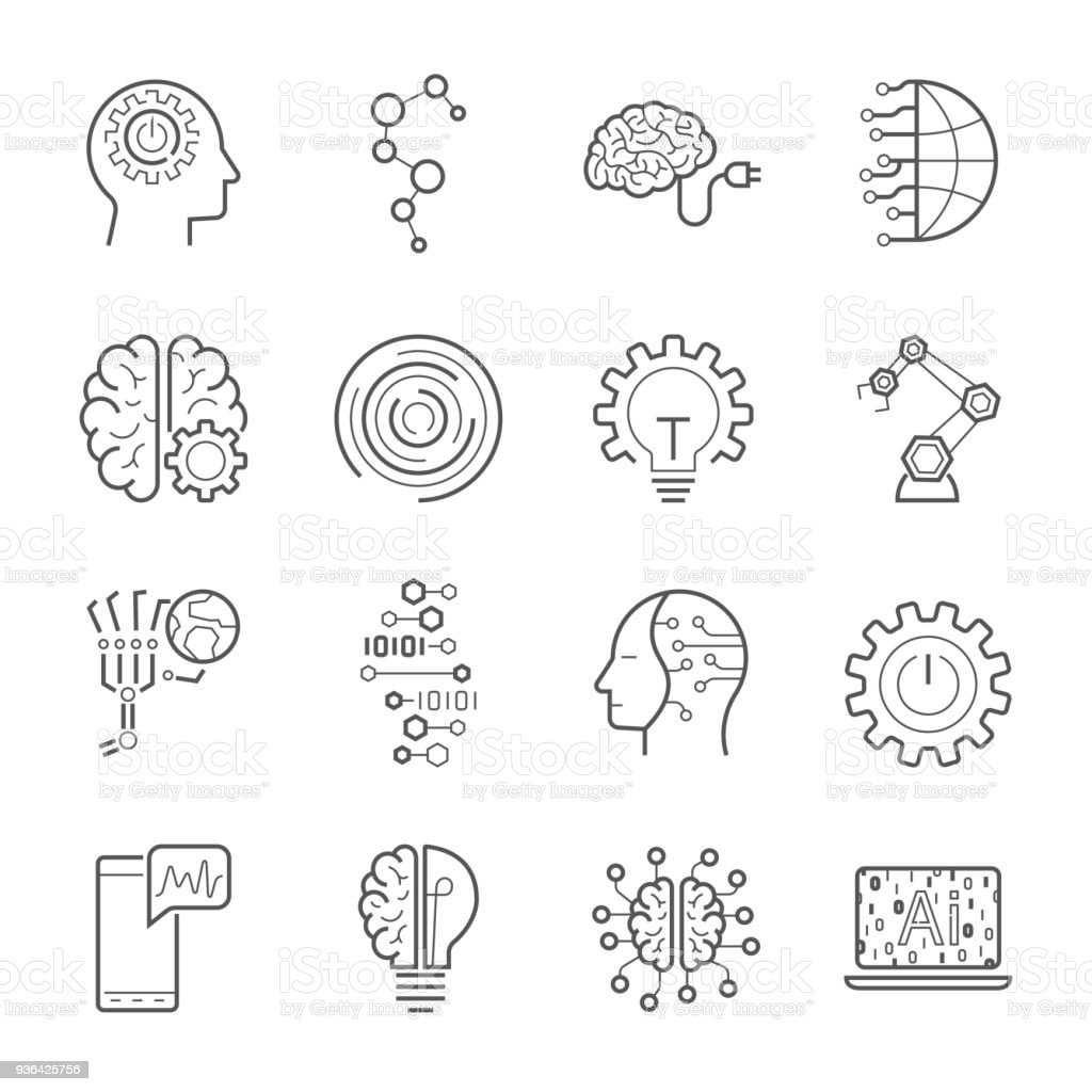 Simple Set of Artificial Intelligence Related Vector Line Icons. Contains such Icons as Face Recognition, Algorithm, Self-learning and more. Editable Stroke. EPS 10 vector art illustration
