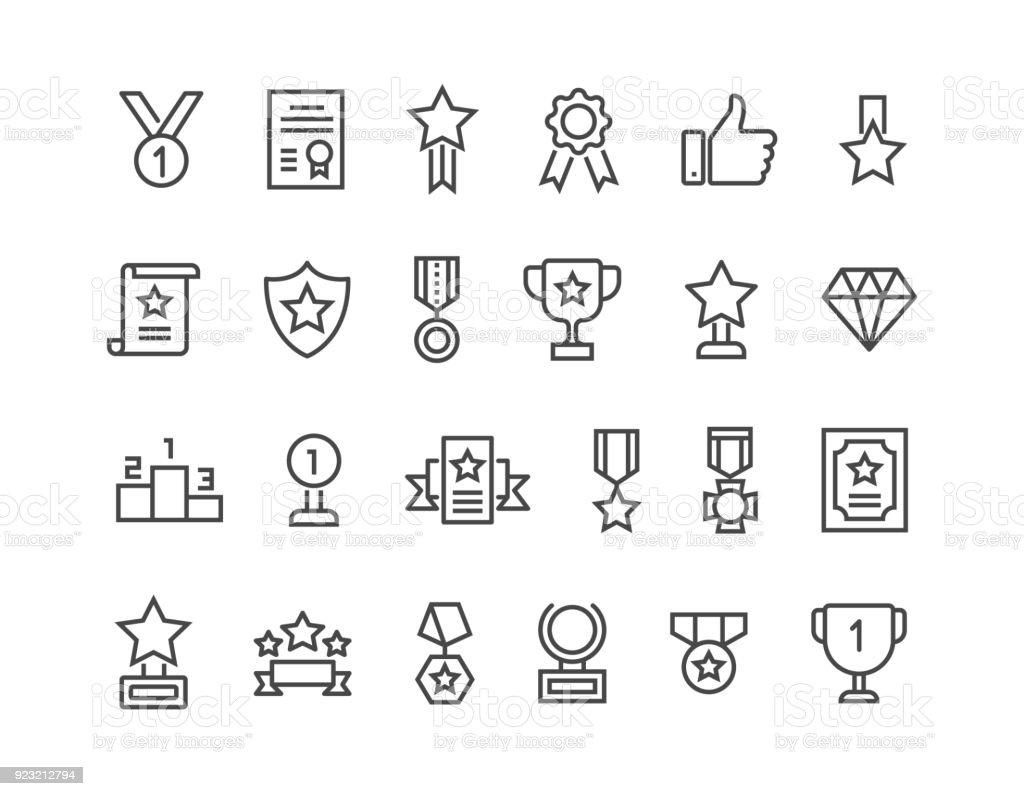 Simple Set of Awards Related Vector Line Icons. Editable Stroke. 48x48 Pixel Perfect. royalty-free simple set of awards related vector line icons editable stroke 48x48 pixel perfect stock illustration - download image now
