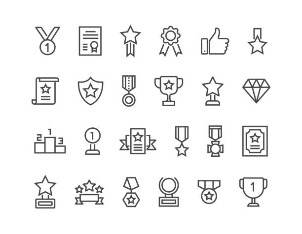 simple set of awards related vector line icons. editable stroke. 48x48 pixel perfect. - zwyciężać stock illustrations