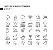 Simple Set of Baby Life and Accessories Related Vector Line Icons. Outline Symbol Collection
