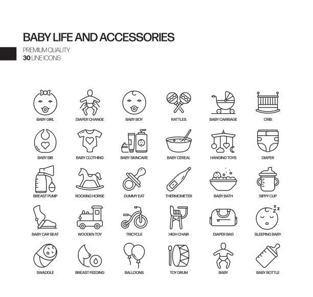 ベビーライフとアクセサリー関連ベクトルラインアイコンのシンプルなセット。アウトライン記号コレクション - 保育点のイラスト素材/クリップアート素材/マンガ素材/アイコン素材